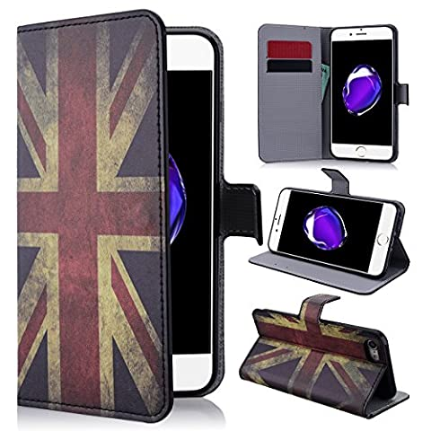 SmartLegend Apple iPhone 7 4.7 inches Case Vintage Cute Cartoon Pattern PU Bumper with Magnet Closure and Card Slots Holster Stand Function Mobile Phone Protective Case -The British Flag - Americano Hard Rock