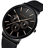 Hombre Reloj de pulsera clásico toque minimalista Ultra Fina Negro Reloj de cuarzo con fecha pantalla multifunción, Milanese pulsera