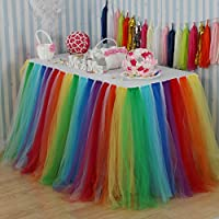 Vlovelife White Tulle Table Skirt Tutu Tableware TableCloth Wedding Party Baby Shower Decorations Handmade Favor 100cm X 80cm Customized Size Available