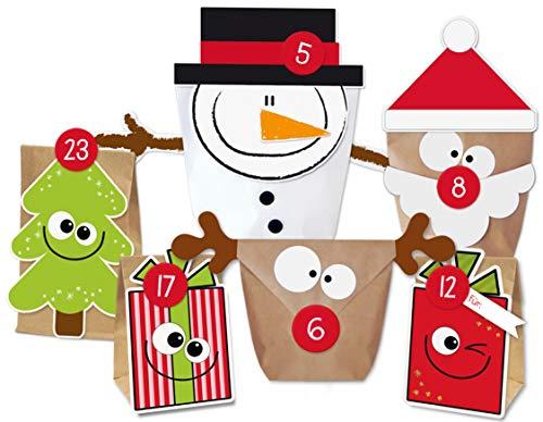 KuschelICH DIY Adventskalender Set Mix zum Befüllen | Weihnachtskalender selber Machen ohne Schere | alle Teile gestanzt | wiederverwendbar