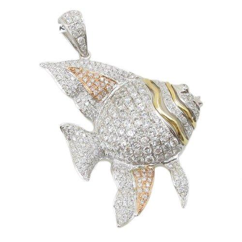 Femme 1,65Outlet–14K Or Blanc, Jaune et Rose 3tons diamant pendentif poisson lp402N Largeur 26mm et 42mm long