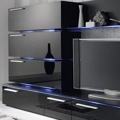 Anbauwand 7-tlg. Hochglanz schwarz, 2x TV-Element, 3x Hängeschrank, 3x Zwischenelement, 2x Glasbodenpaneel, Mindestb.: ca. 300 cm, Tiefe: ca. 40 cm - 2