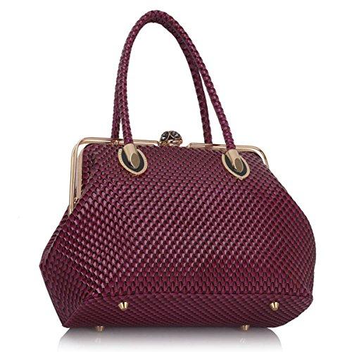 xardi London da donna in pelle sintetica da donna a tracolla doppia maniglia borsa tote Purple