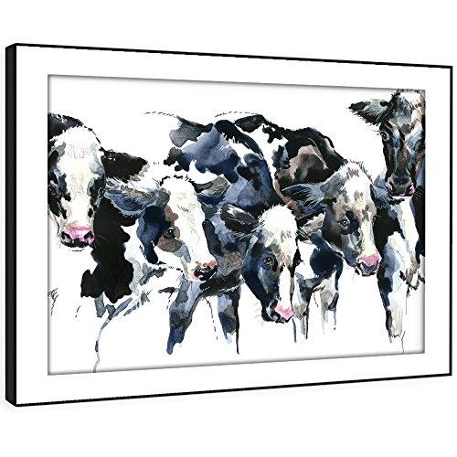 BFA777C gerahmtes Bild Druck Wandkunst - (Schwarz Weiß Aquarell Kühe) Modernes Tier Wohnzimmer Schlafzimmer Stück Wohnkultur Leicht Hang Guide (58X41cm) (Bunte Kuh-malerei)