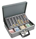Wedo 149100812 Geldzählkassette Maxi (pulverbeschichtetes Stahlblech, mit 2 Tragegriffen und 4-Fächereinsatz für Geldscheine, Zylindersicherheitsschloss, 37 x 29 x 11 cm) grau