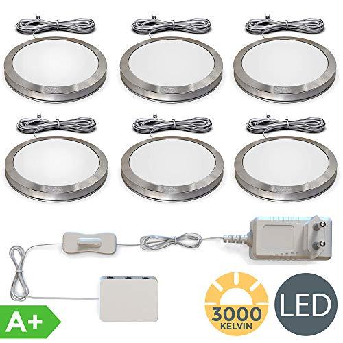 LED Unterbauleuchten 6er Set Schrankleuchten Komplettset 6 x 1,8W 170lm 3000K Warmweiß LED Küchenlampen Vitrinenbeleuchtung Zubehör inkl.