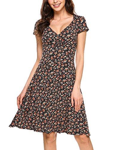 Zeagoo Damen Sommerkleider Wickelkleid Partykleid Vintage Blumen Kleid V-Ausschnitt Kurzarm Knielang Orange S