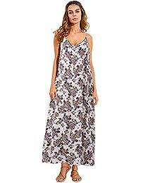 ZANZEA Donna Vestito Lungo Abito Maxi a Pois Casual Largo Elegante Senza Manica  Dress a0ad6b6b44f