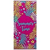 Ligne Décor Serviette DE Plage 70 x 150 CM Eponge Velours Imprime Sunny Time Coton, Multicolore, 150x70 cm