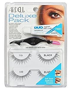 Ardell Eye Lash 110 Black Deluxe Pack [ 2 Paires of lashes + Adhesive & Lash Applicator] by USA