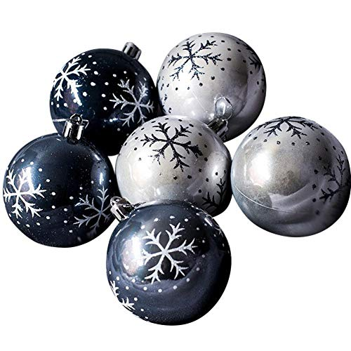 Eruditter Weihnachtskugel Schneeflocke Weihnachtskugel Herz Kugel Handgemaltes Schwarzgrau lackiert Weihnachtskugeln Weihnachtsbaumschmuck Anhänger 8CM 6pcs