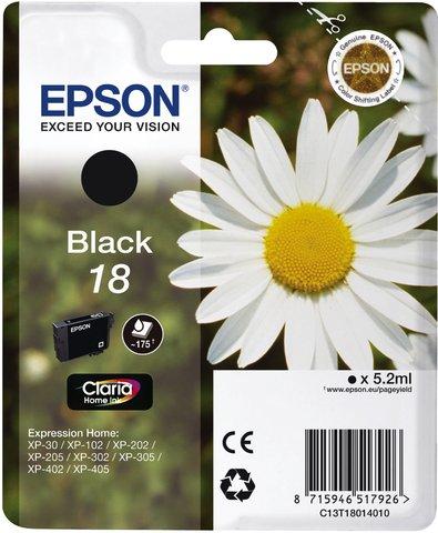 Epson No.18 - Cartucho de tinta para Expression Home XP-212, negro