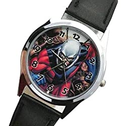 ANT-MAN Picture Dial Quartz Analogue Watch with Calfskin Grain Genuine Leather Band - FREE Spare Battery
