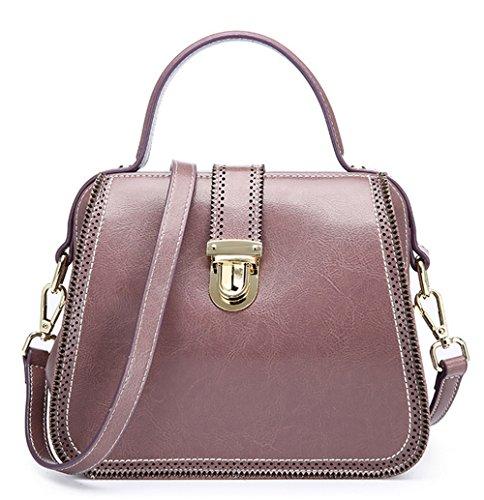 Xinmaoyuan Handtaschen der Frauen Sommer Retro Wind aus Leder Multi-Color Portable Schulter Messenger Bag Arzt Tasche Damentasche, Grau Taro Farbe