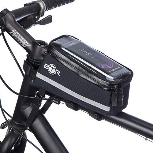 BTR Fahrrad Handyhalterung, Deluxe Fahrrad-Tasche Handy-Halterung Lenkertasche, Rahmentasche Wasserdicht. Handyhalterung Fahrrad mit Regenschutz