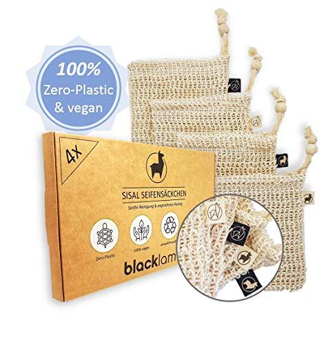 *NEUE DESIGNS* [4x] Sisal Seifensäckchen mit Baumwoll-Labels | 100{975e20996ae94b8f50b232f006383c0060f5e309830372378ce70834b3c87361} vegan | Zero-Plastic Verpackung | Bio Peeling | Seifenbeutel für Seifenreste | reines Naturprodukt