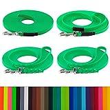 LENNIE BioThane Schleppleine, 5m, Neon-Grün, 16mm für große Hunde, genäht/geflochten, Handschlaufe & Karabiner wählbar