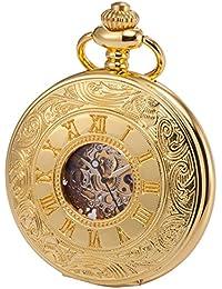 KS Golden Mechanische Taschenuhr Handaufzug Skelett Zifferblatt mit Kette und Geschenkbox KSP031