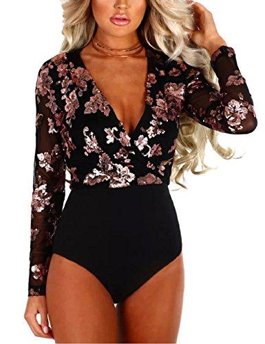 Sheer V-ausschnitt Bluse (SEBOWEL Damen Sexy Sheer Mesh Body Langarm V-Neck Bodysuit Bluse Tops Overall)