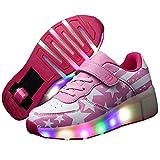 Recollect Unisex Zapatos de Ruedas Skate Led Luz Zapatillas con Ruedas Patines Deportes Zapatos para Niños/Niñas,Pink,32EU