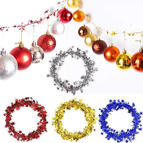 (Phogary 4 Stück Sterngirlande 98ft für Weihnachtsschmuck (Rot, Gold, Silber, Blau) Lametta Stars Brace, Lametta Draht Girlande Jahr Dekoration Party Zubehör)