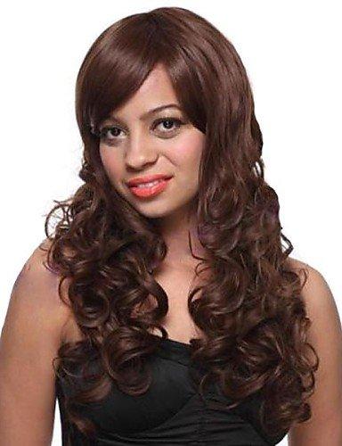 Fashion cheveux Bang incliné tempérament cheveux bouclés perruque