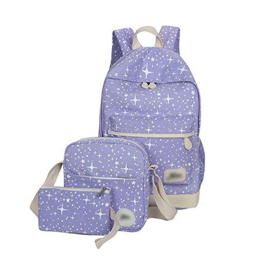 Sentao Tela Zaino Scuola Backpack Casual Donna Zaini Vintage Studenti Borse + Sacchetto di spalla / Messenger Borse + Portafoglio 3PCS set Viola