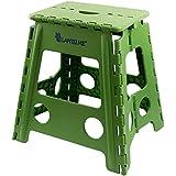 Taburete plegable verde Lantelme., taburete de plástico resistente a la intemperie para casa, jardín o Camping