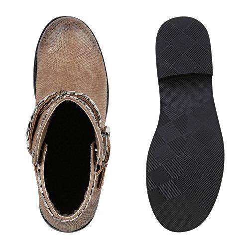Damen Biker Boots Nieten Schnallen Stiefeletten Lederoptik Khaki