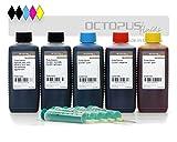 5 x 100 ml Nachfülltinte, Druckertinte für Canon PGI-550, PGI-555XL, CLI-551 Druckerpatronen, Canon Pixma MX 925, MX 725, MG 6350, MG 5450, IP 7250, (Non OEM)