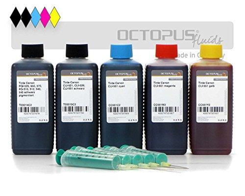Galleria fotografica 500 ml inchiostro di ricarica, inchiostro per stampante per cartucce Canon Pixma MX 925, MX 725, MG 6350, MG 5450, IP 7250 (Non OEM)