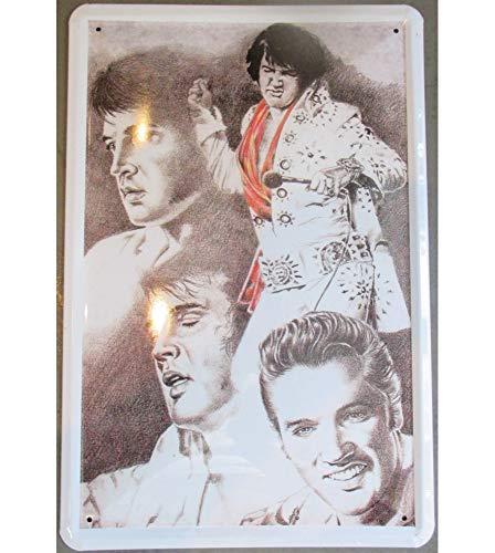 Weißen Elvis Kostüm - hotrodspirit - Schild Elvis Presley Kostüm weiß Strass 70er Jahre gewölbt 30 x 20 cm Deko USA