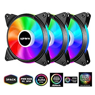 upHere 5V PWM RGB LED 120mm Case Fan For PC Cooling super Silent 5V 3 Pack-Supports ASUS Aura Sync/GIGABYTE RGB Fusion/MSI Mystic Light Sync/AsRock Polychrome Sync-T7SYC7-3