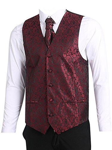 (LL L & L Herren Weste mit Paisley-Muster Weste und Krawatte Einstecktuch Set für Anzug - UK Weihnachten - weinrot, Chest 42'' XXL)