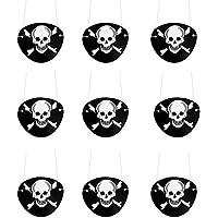 Oblique Unique Piraten Augenklappe 9 Stück Schwarz Seeräuber Fasching Karneval Piratenkostüm Geburstag
