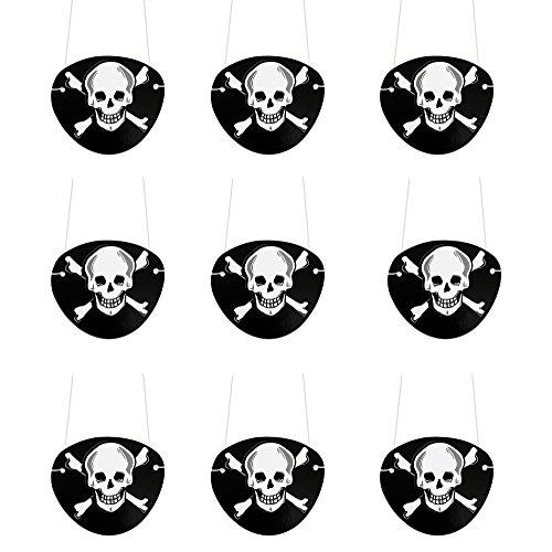 9 Stück Schwarz - Oblique-Unique® - Seeräuber Fasching Karneval Piratenkostüm Geburstag (Piraten-augenklappen)