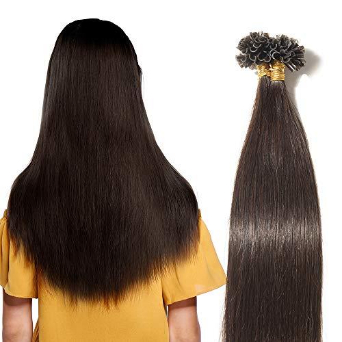 40cm extension capelli veri naturali con cheratina 100 ciocche 50g/pack u-tip allungamento remy human hair, 2 marrone scuro