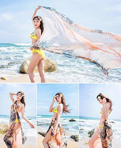 UK_Stone Damen Übergroesse Modisch Kariert Blumen Pattern Sarong Pareo Strandtuch Wickeltuch Bikini Sonnenschutz Decke Cover-up Baum Orange