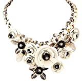 Colorful Flower Jewels Fashion Pendant Cord Necklace Shirt Decoration White