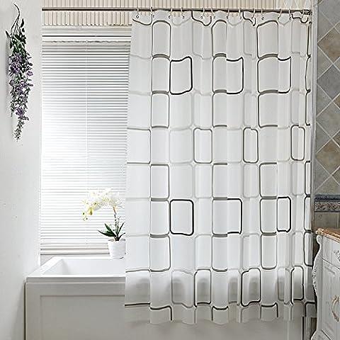 Etanche Rideau de douche 180x200 cm Anti-Mould UWILD blanc Rideau ® de douche avec 12 anneaux de rideau de douche Salle de bains (Square)