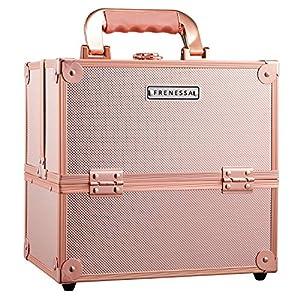 Frenessa Makeup Box Cosmetics Case Jewelry Organiser Vanity Make Up Storage Box Beauty Train Case Lockable with Keys (Rose Gold)
