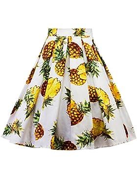 SHOBDW Mujeres Carnaval Moda Piña Impresión Plisada Falda