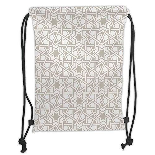 Drawstring Backpacks Bags,Moroccan,Tangled Modern Simplistic Artwork Based on Traditional Oriental Arabic Patterns Print,Beige Soft Satin,5 Liter Capacity,Adjustable String Closure (Tangled Artworks)