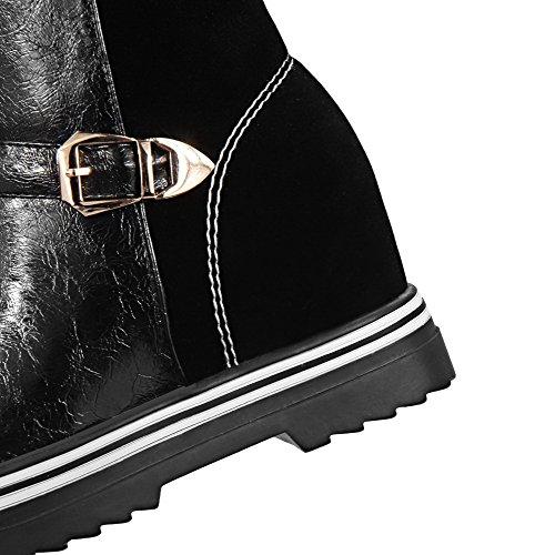 VogueZone009 Damen Hoher Absatz Mitte-Spitze Rund Zehe Blend-Materialien Stiefel Schwarz
