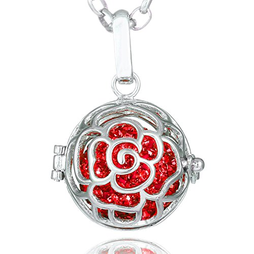 Morella Damen Halskette Edelstahl 70 cm mit Rosen Anhänger und Klangkugel rot Ø 16 mm in Schmuckbeutel