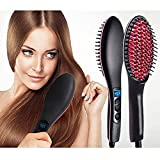 Piesome Women's Electric Comb Brush Nano 2 in 1 Ceramic Hair Straightener Brush