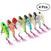 VORCOOL 4 UNIDS Pesca Duro VIB Metal Wobble Fish Señuelos Cuchara Señuelo Feather Bait Hook