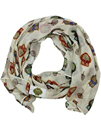 Lovely Ladies Cream Off White Ivory Owl Scarf for Women Owls Gift Idea