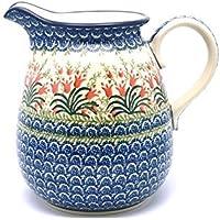 Polish Pottery Pitcher - 2 quart - Crimson Bells by