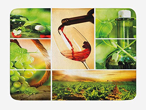 Wine Bath Mat, Wine Tasting and Grapevine Collage Green Fresh Field Pouring Drink Delicious, Plush Bathroom Decor Mat with Non Slip Backing, 31.69 X 19.88 Inches, Green Ruby Caramel - Ruby Grapevine